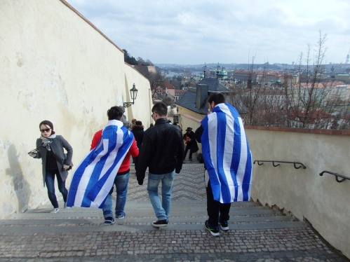Greek tourists in Prague