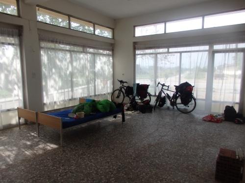 Our makeshift shelter in Kyprinos