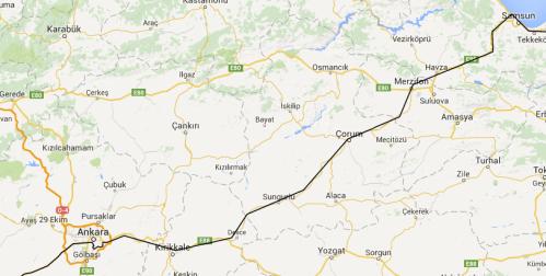 Ankara to Samsun