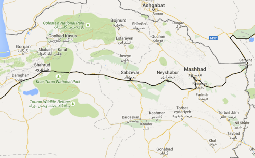 Shahrud to the Turkmenistan border